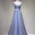 A-Line V-Neck Tulle Appliqued Sleeveless Blue Long Prom Dresses DE005