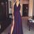 A-Line V-Neck Halter Sleeveless Side Slit Chiffon Long Prom Dresses