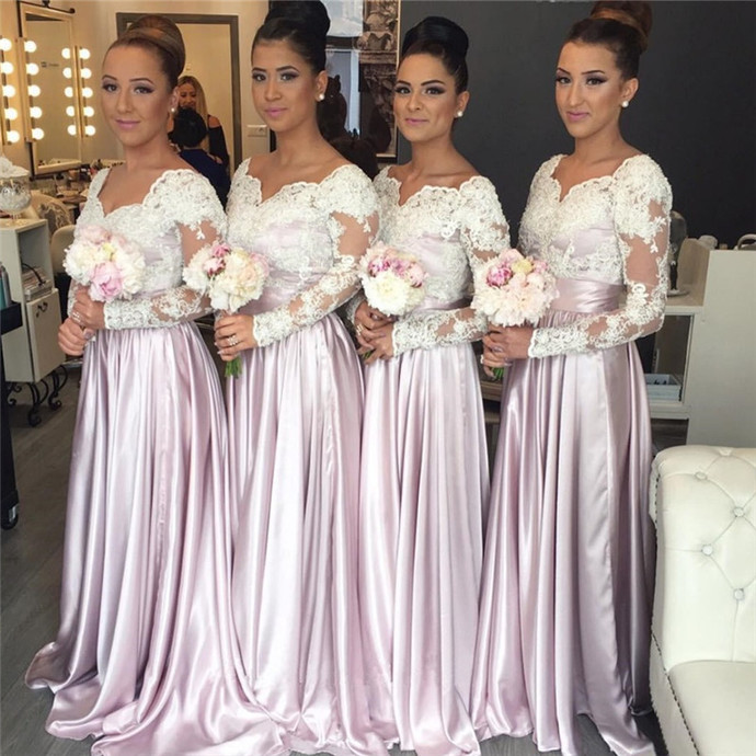 long sleeve pink bridesmaid dresses 2020 v neck lace appliqué a line elegant