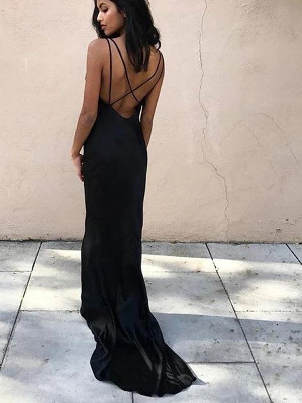 V-Neck Open Back Sleeveless Black Long Prom Dresses