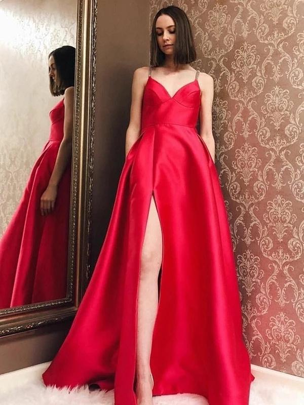 A-Line V-Neck Spaghetti Straps Side Slit Red Long Prom Dresses DEFS003