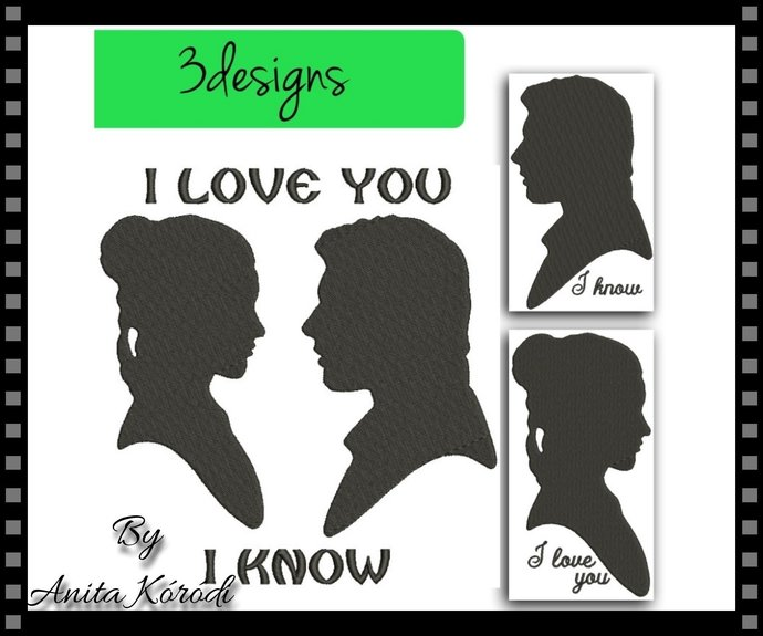 Star Wars Embroidery Machine Designs Han Solo&Leia Pes Digital Download Love