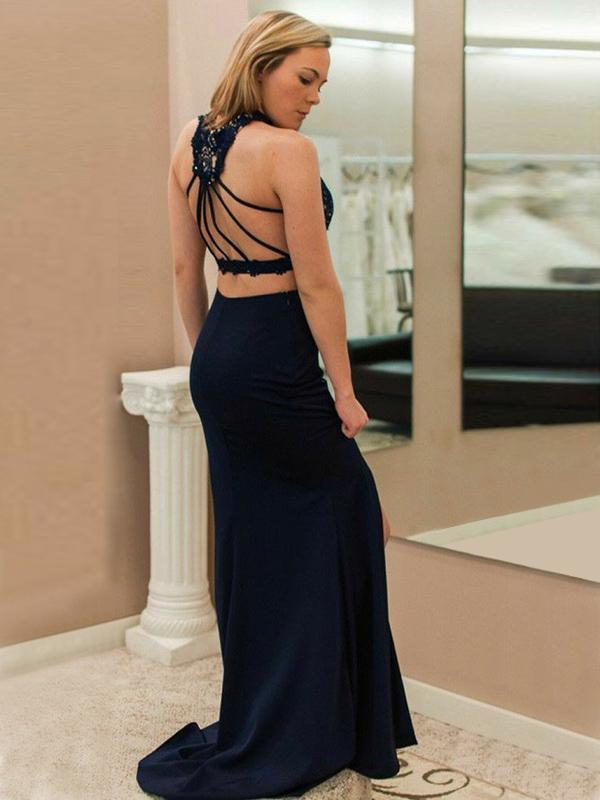 Mermaid Cross Neck Sleeveless Two Pieces Navy Blue Long Prom Dresses
