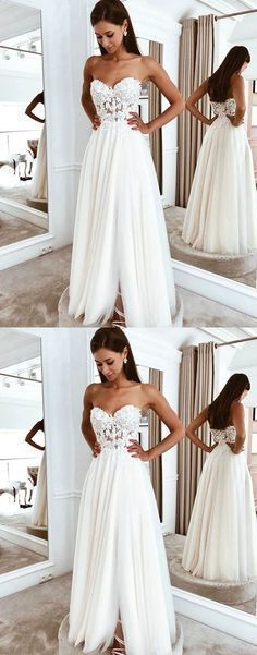 White sweetheart tulle lace long prom dress  ML209