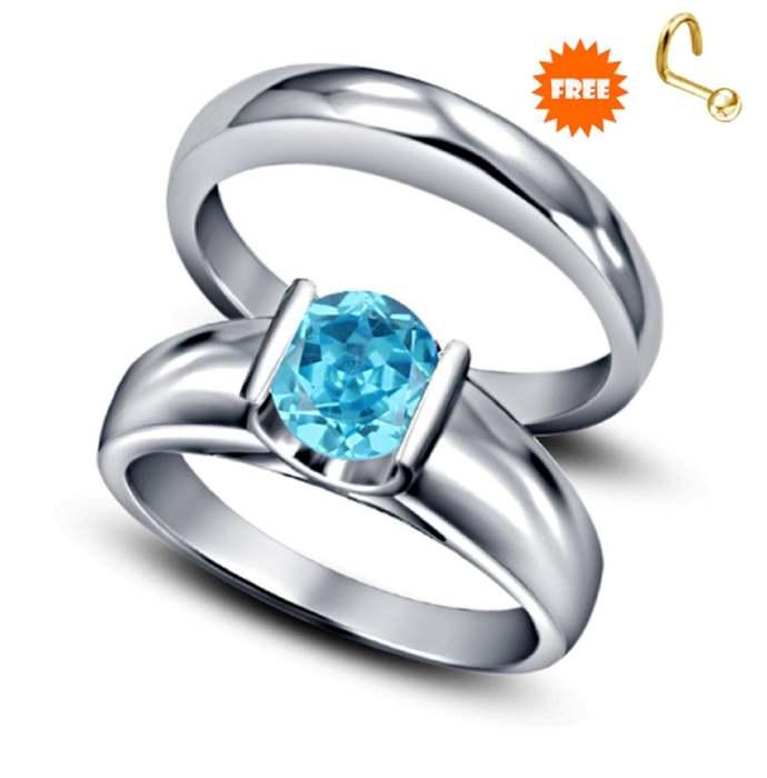 solitaire bridal ring set London blue topaz ring round cut blue gemstone