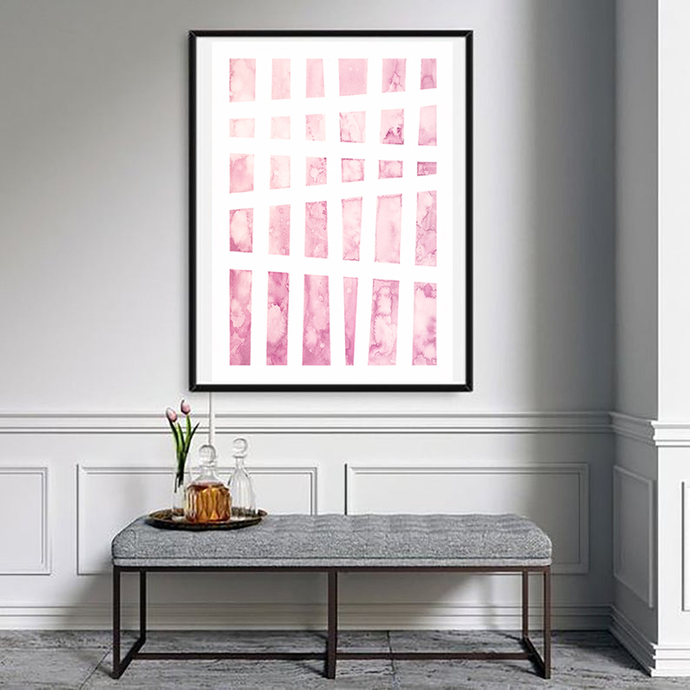 Blush Pink Wall Art Print, Digital Download, Abstract Watercolor Painting, Large