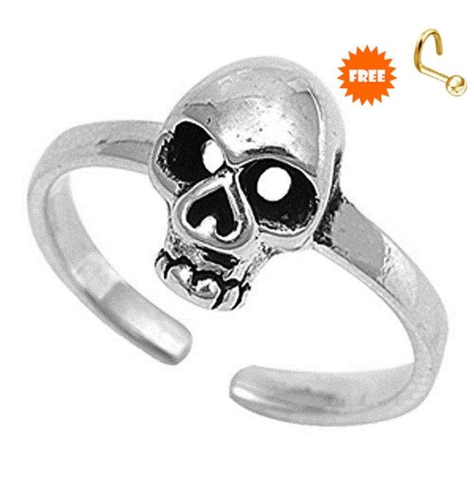 Solid 925 Sterling Silver Skull Toe Ring, Skull Ring, Pure Silver Toe Ring,