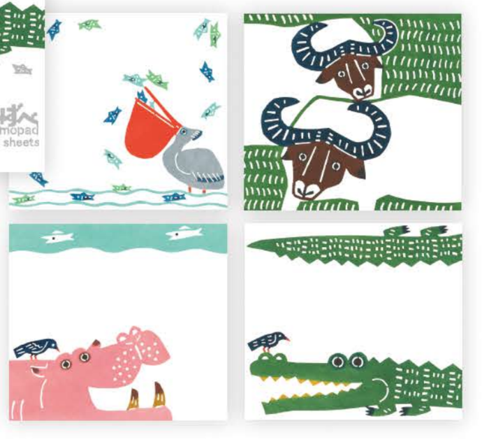 Kata Kata memo pad - water animals - 120 note sheets with 4 different designs