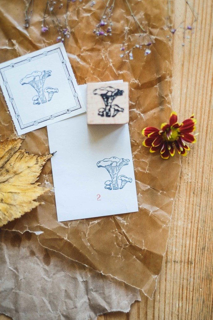 London Gifties original design wooden stamp - Mushroom 2 - 3 x 3 cm - B quality