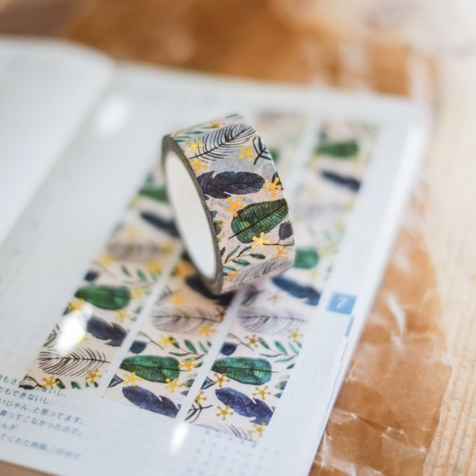 London Gifties original design foil washi tape - Leaves & feathers - 2 cm wide