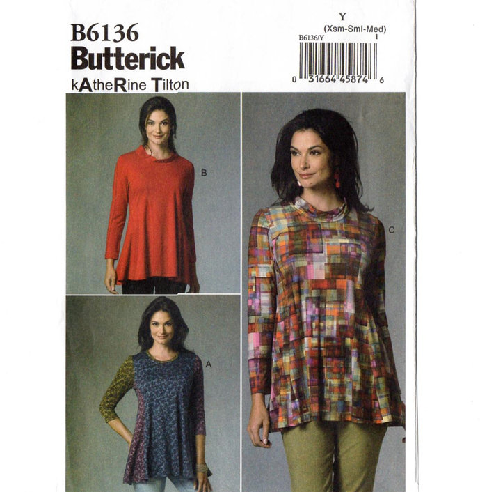 Butterick 6136 Misses Flared Tunic Sewing Pattern Uncut Size 4-6, 8-10, 12-14