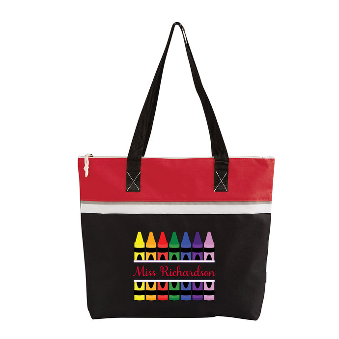 Teacher Crayons Personalized Small Travel Beach Tote
