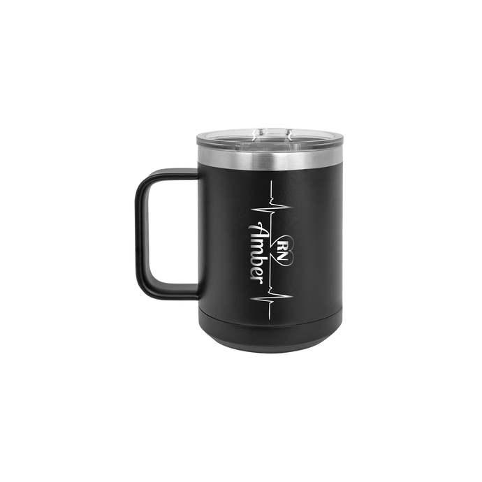 Heartbeat, MD, RN, LPN Personalized 15 oz Insulated Coffee Mug
