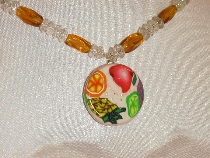 Fruit Love polymer clay beaded necklace