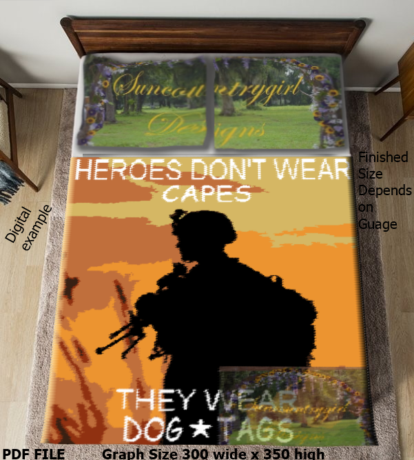 Heroes Wear Dog Tags, 300 x 350 graph of soldier silhouette graphghan crochet
