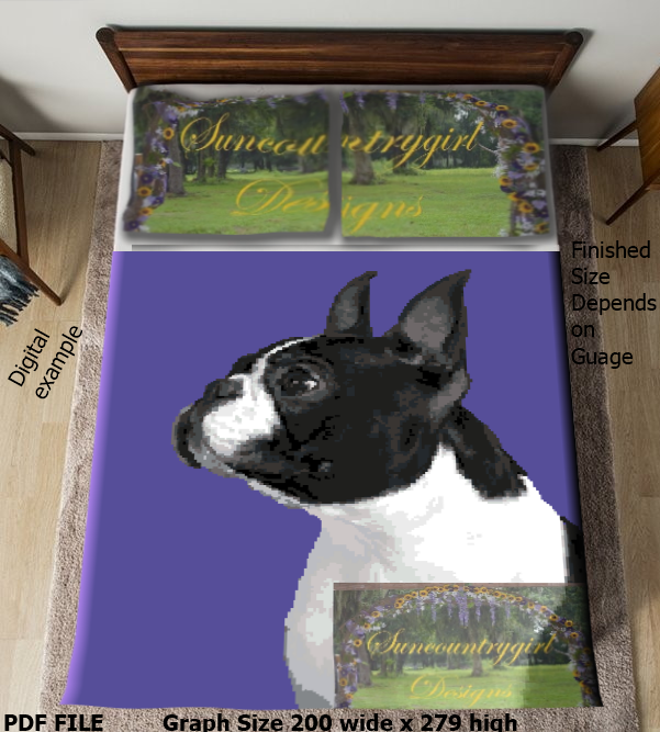 Boston Terrier graph, 200 x 250 advanced graphghan crochet pattern