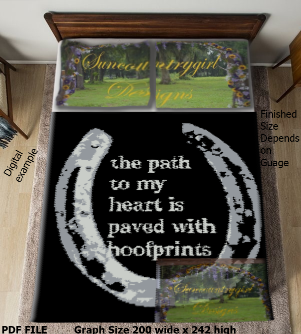 The Path To My Heart Is Paved With Hoofprints, 200 x 242 SC graphghan crochet