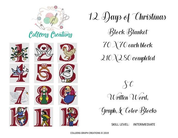 12 Days of Christmas Block Blanket Crochet Written & Graph Design