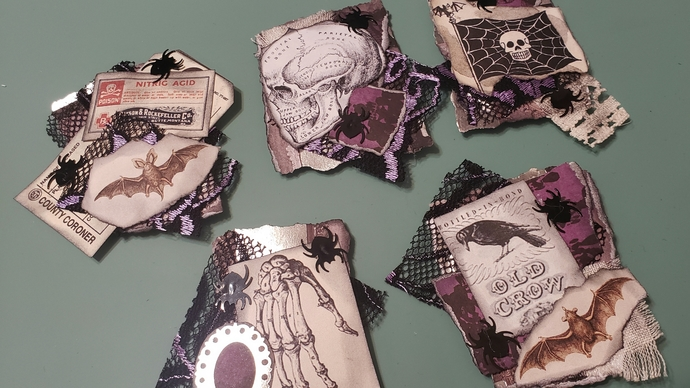 Halloween collage altered paperclips set