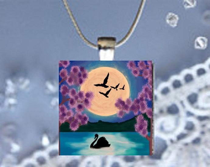 Pendant Necklace Moonlight Magic Swan