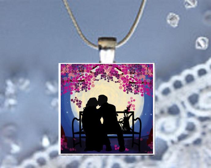 Pendant Necklace Moonlight Magic Couple Kissing
