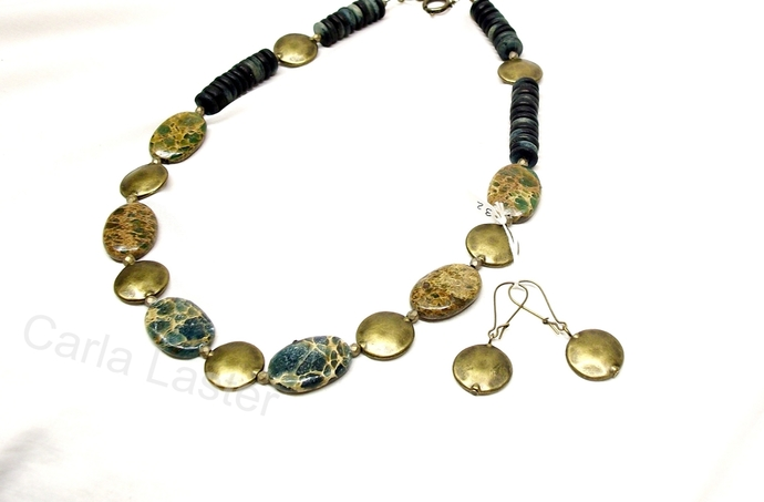 Bronze and sea sediment jasper necklace, woodland colors of forest green and