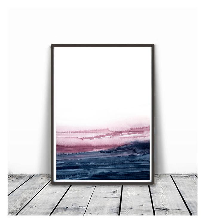 Abstract Art, Printable Abstract Wall Art, Pink navy landscape wall art, blue