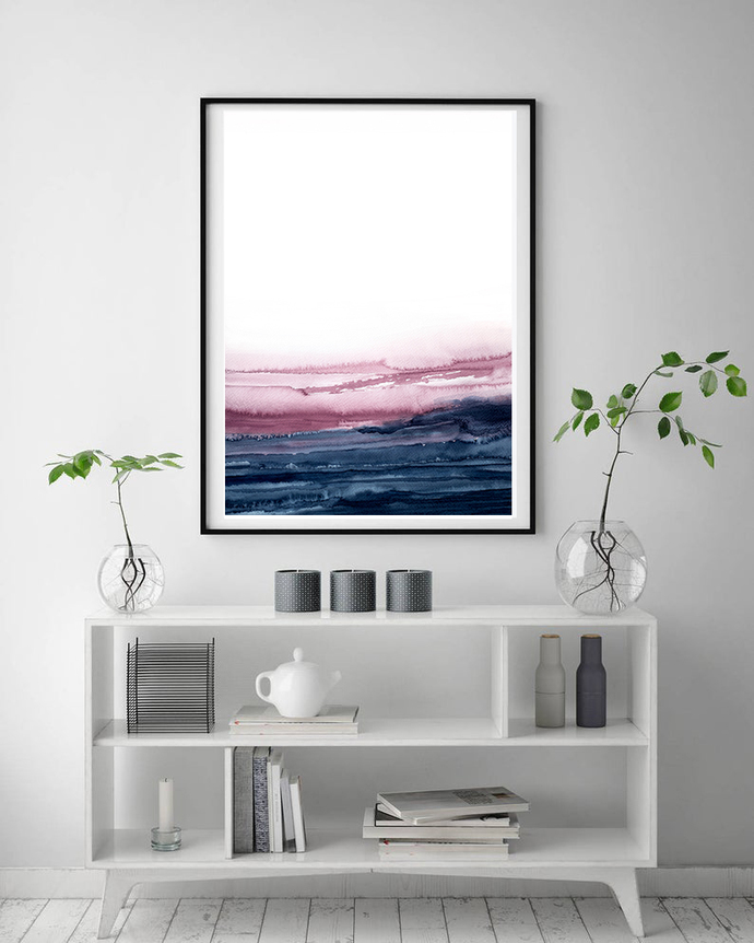 Abstract Art, Printable Abstract Wall Art, Pink navy landscape wall art, blue