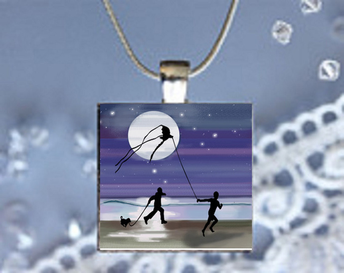 Pendant Necklace Moonlight Magic Kite Flying