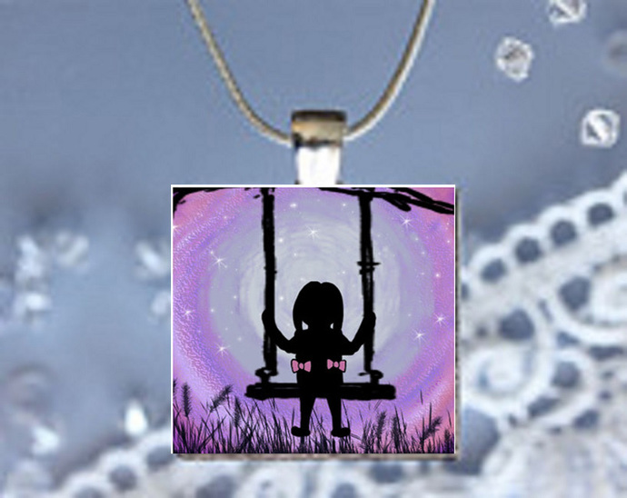 Pendant Necklace Moonlight Magic Girl on a Swing