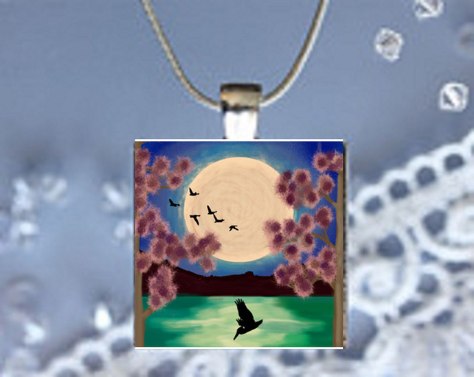 Pendant Necklace Moonlight Magic Birds