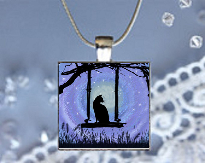 Pendant Necklace Moonlight Magic Cat