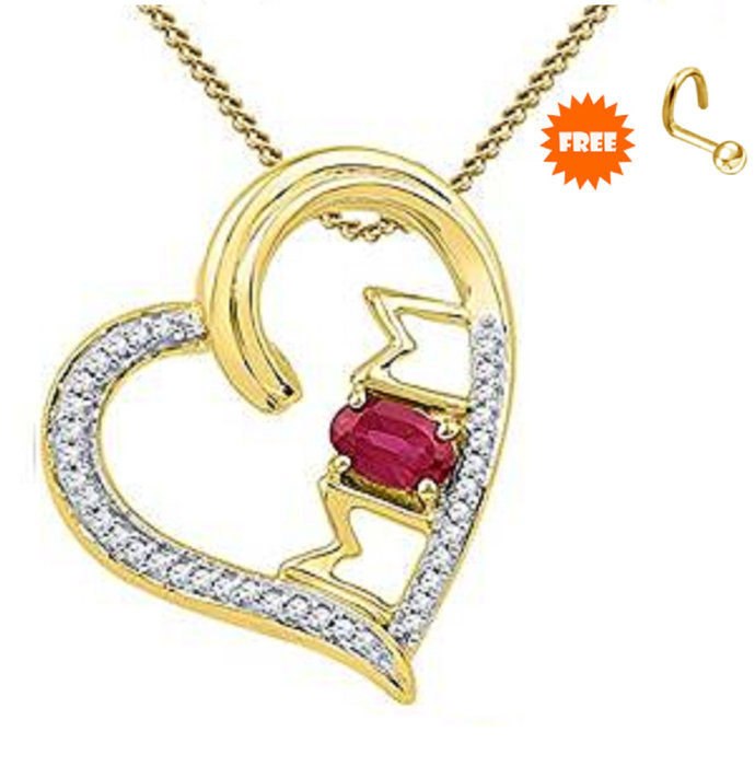 Special Gift For Mom Pink Sapphire & Diamond Mom Heart Pendant With Chain 14K