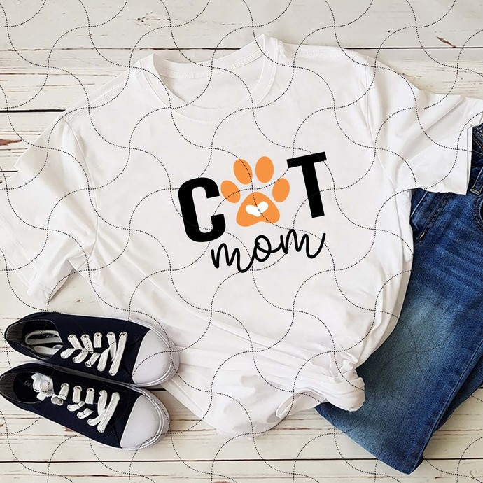Cat Mom Svg, Cat Foot Svg, Silhouette Cameo, Cricut File, Funny Shirt Svg, Gift