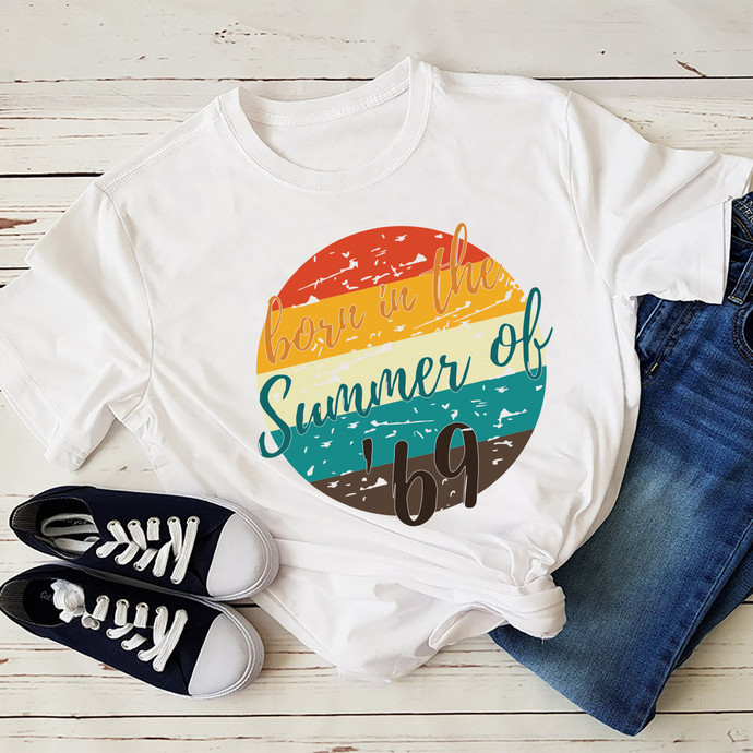 Born In The Summer Of 69 Svg, 50th Birthday Summer Of 69 T-Shirt Gift Mom Dad