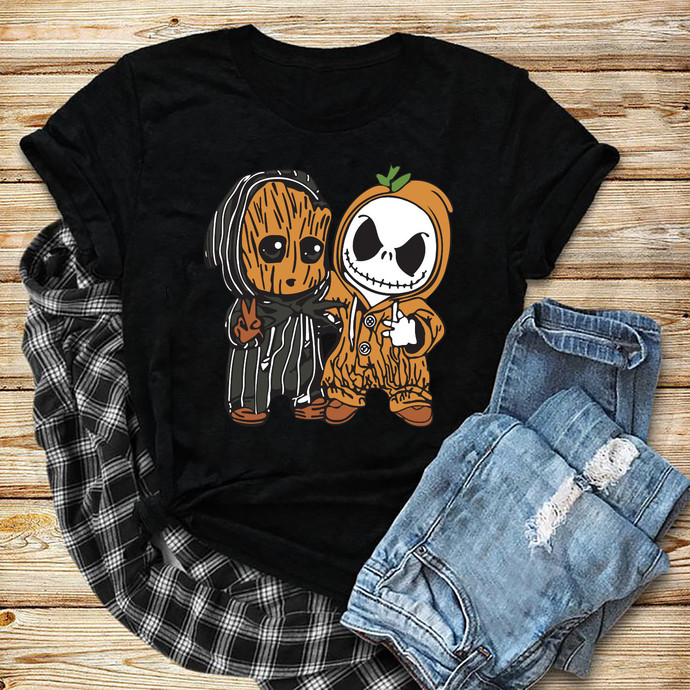 Jack Skellington Baby Groot Shirt Shirt Svg, Funny Shirt Svg, Cute Shirt, Gift