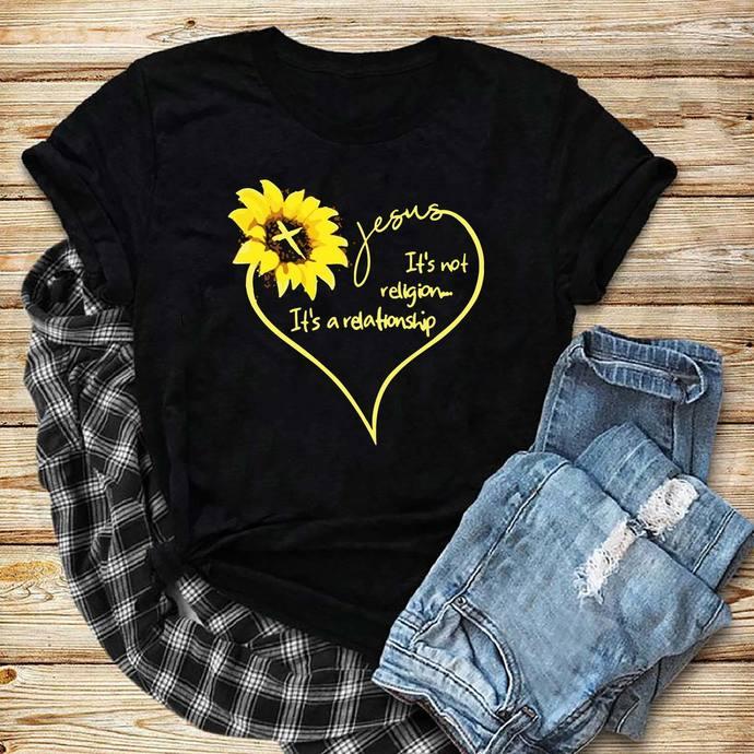 Jesus, jesus svg, it's not a religion, it's a relationship, sunflower, sunflower