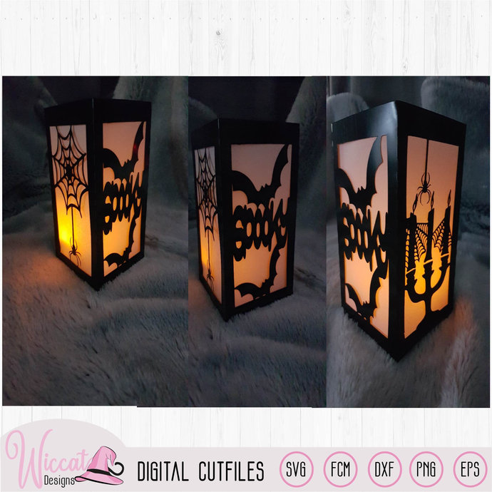 Spooky lantern, candles with bats and spiders, Halloween lantern template,