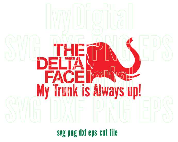 The Delta Face Delta Sigma Theta Sorority SVG shirt DST Elephant trunk up sign