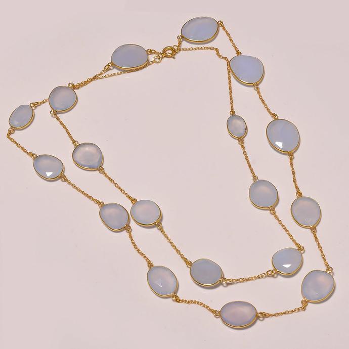 Natural Chalcedony Sterling Silver Semi Precious Gemstone 34 Inches chain