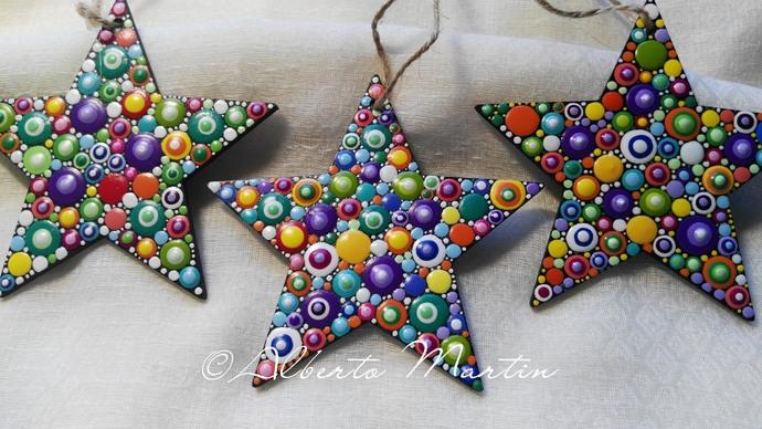 CHRISTMAS STARS TREE ORNAMENTS- DOT ART CHRISTMAS ORNAMENTS. SET OF 3.