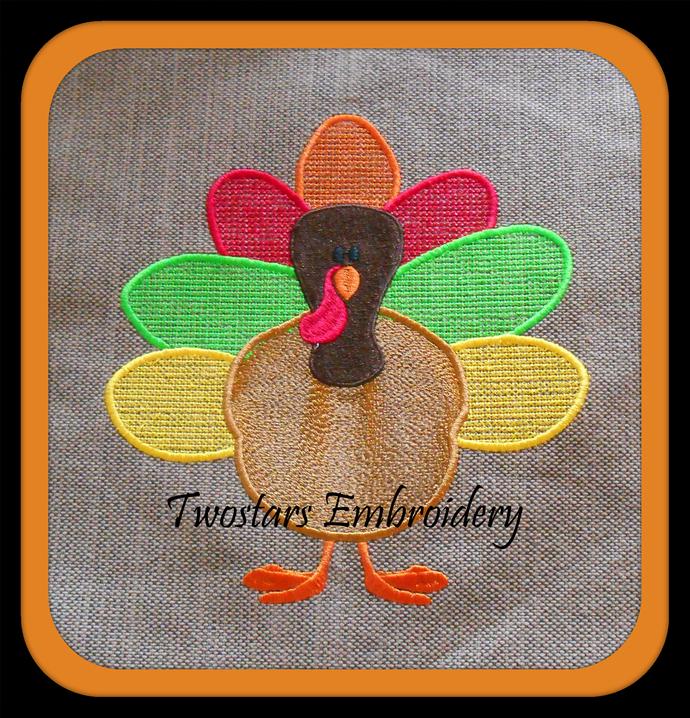 Turkey time cross stitch digital embroidery file. In sizes 4x4 5x7 7x7 6x10.