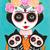 Frida y Gatos Skellie Cats Original Day of the Dead Cat Folk Art Painting