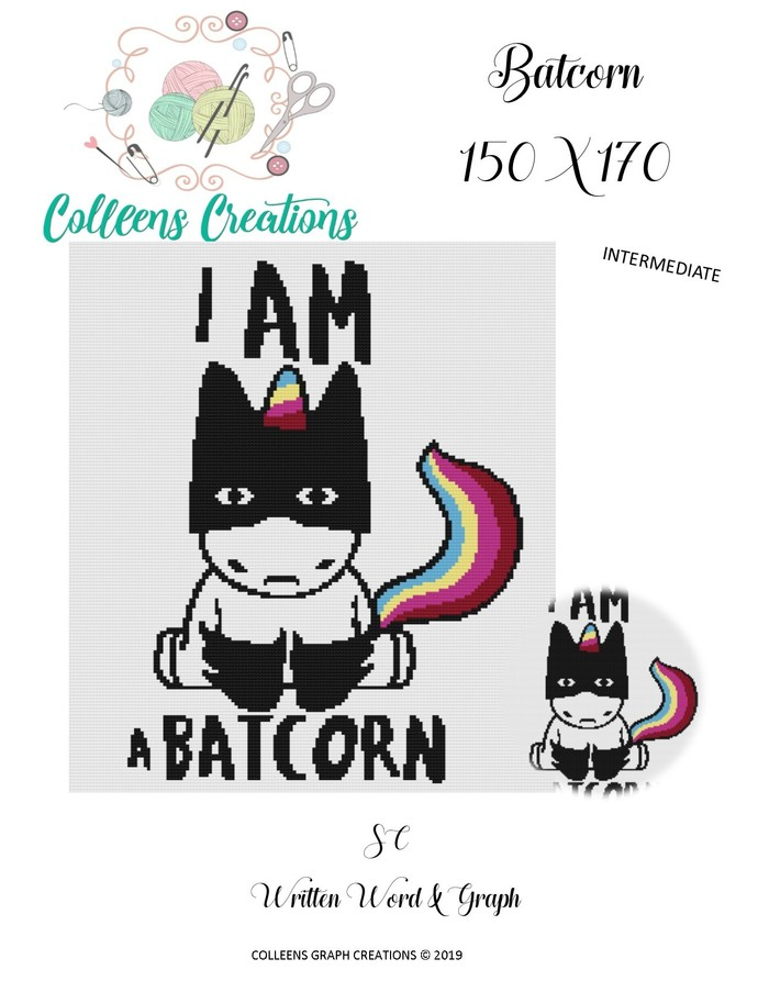 Batcorn Crochet Written and Graph Design
