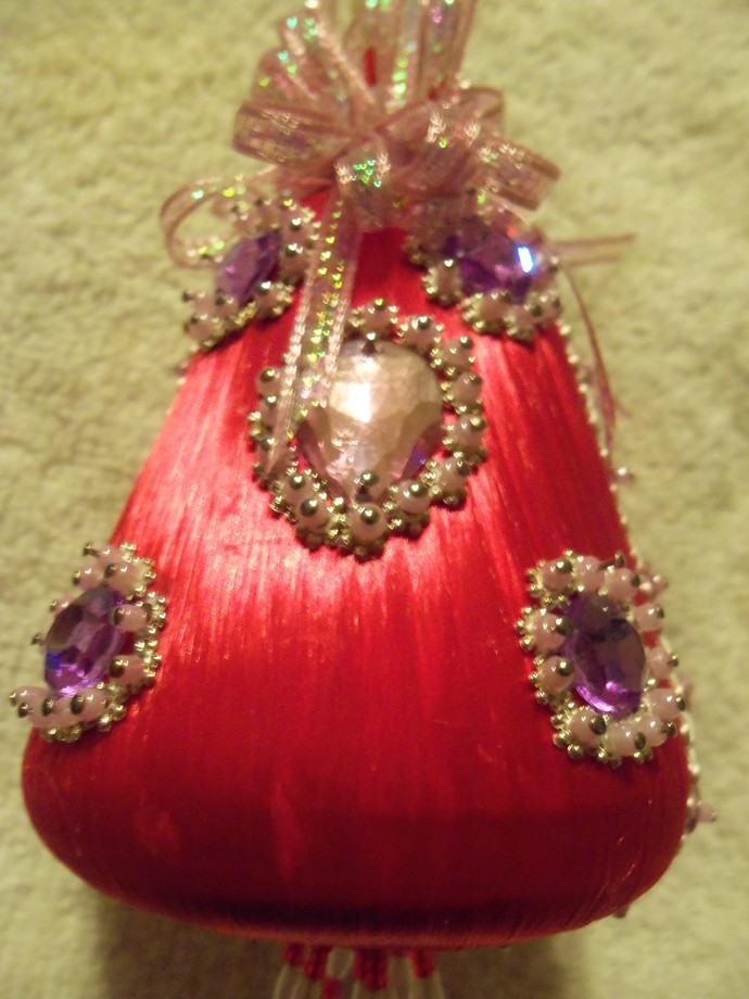 Red Silk Bell Shaped Christmas Ornament Handmade