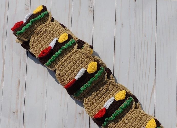 Hamburger Cheeseburger Crochet Food Scarf - Food Scarf Gift for Foodie Food
