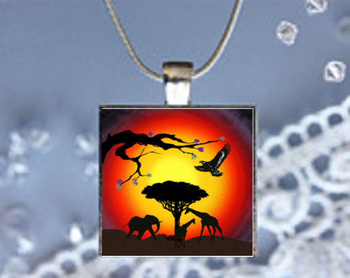 Pendant Necklace African Sunsets