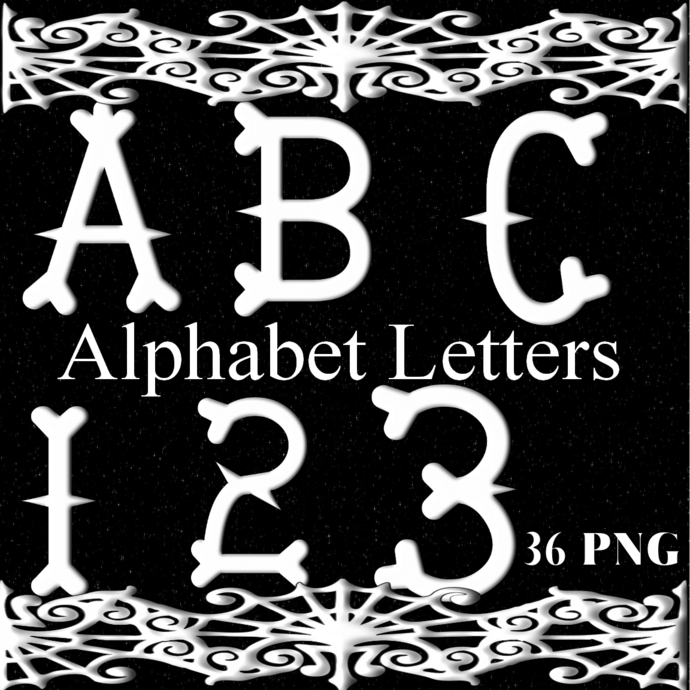 ABC and 123 Bones-Digital Kit-Jewelry Tag-Clipart-Gift Tag-Holiday-Digital