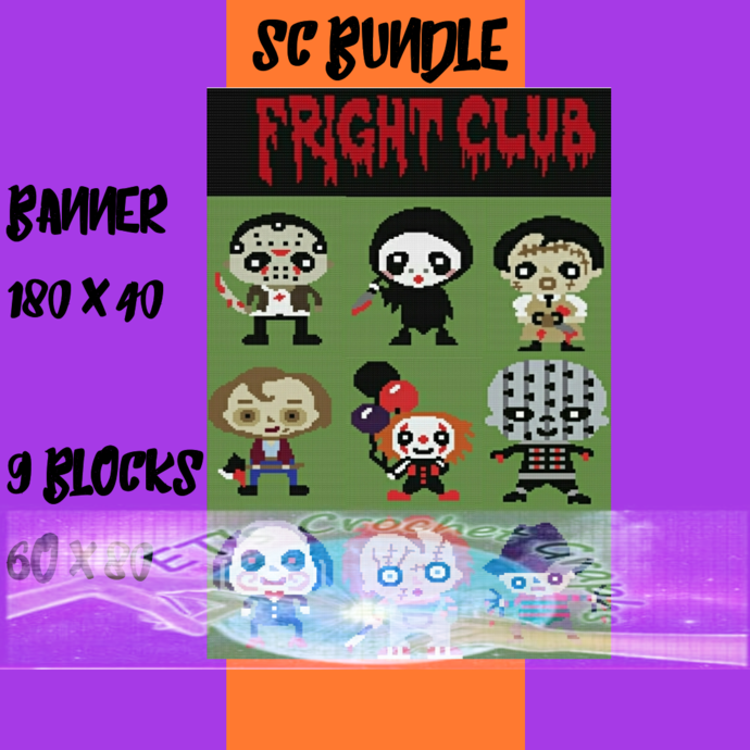 Fright Club 9 Pattern Bundle with Graphs & Written Color Charts