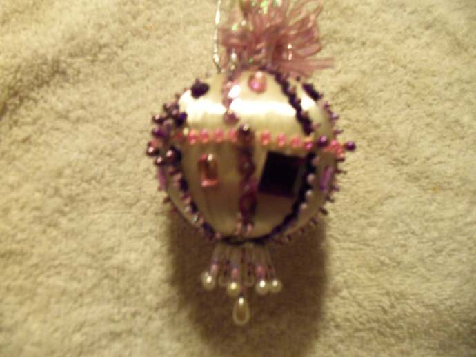 Pink/White Silk Handmade Christmas Ornament w/Sequins